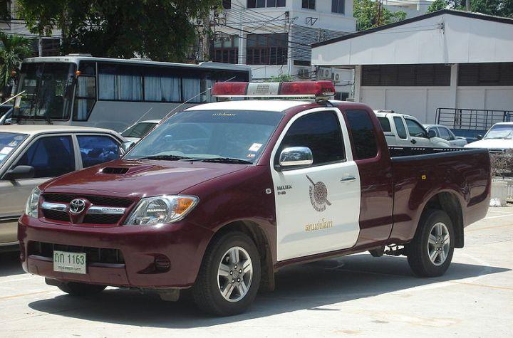 Toyota Hilux Thai police car in Phitsanulok, Thailand