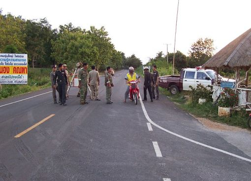 Thai Police checkpoint in Uthai Thani