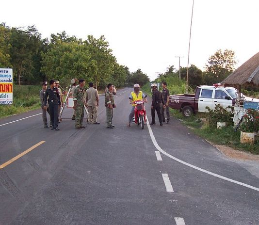 Thai Police checkpoint in Uthai Thani