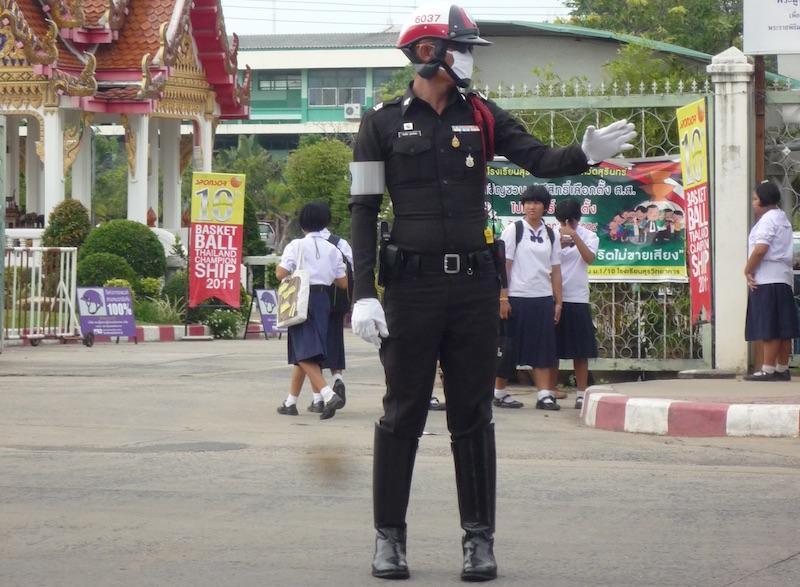 Thai Traffic Police Officer in Surin, Northeastern Thailand