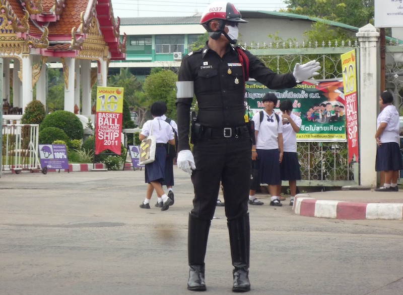 Thai Traffic Police Officer in Surin, Northeastern Thailand
