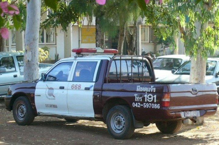 Rural Royal Thai Police pick up truck in Na Wa, Nakhon Phanom province