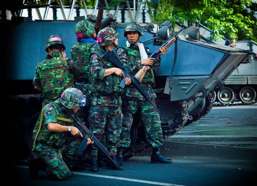 Royal Thai Army soldiers and Type 85 APCs during 2010 Red Shirt protests
