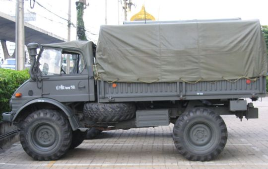 Royal Thai Army Unimog parked outside Nation Tower on Bang Na-Trad Highway following the 2006 Thailand coup