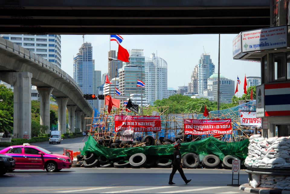 Red Shirt barricades in Bangkok