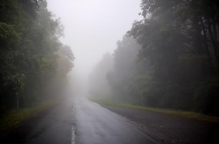 Road with dense fog
