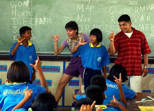 U.S. Marines at a school in Pattaya, Thailand