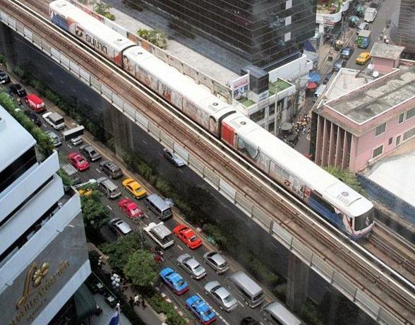 Bangkok BTS Skytrain and traffic jam