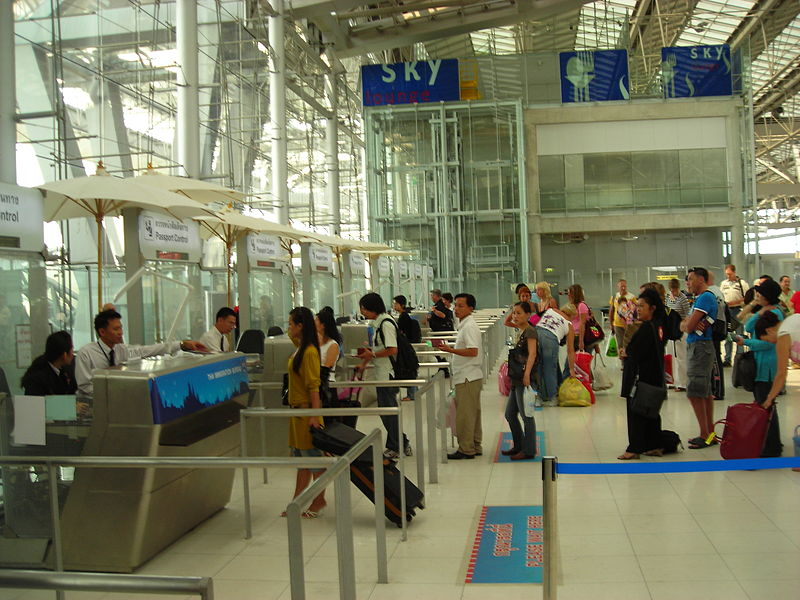 Immigration passport control at Suvarnabhumi airport in Bangkok