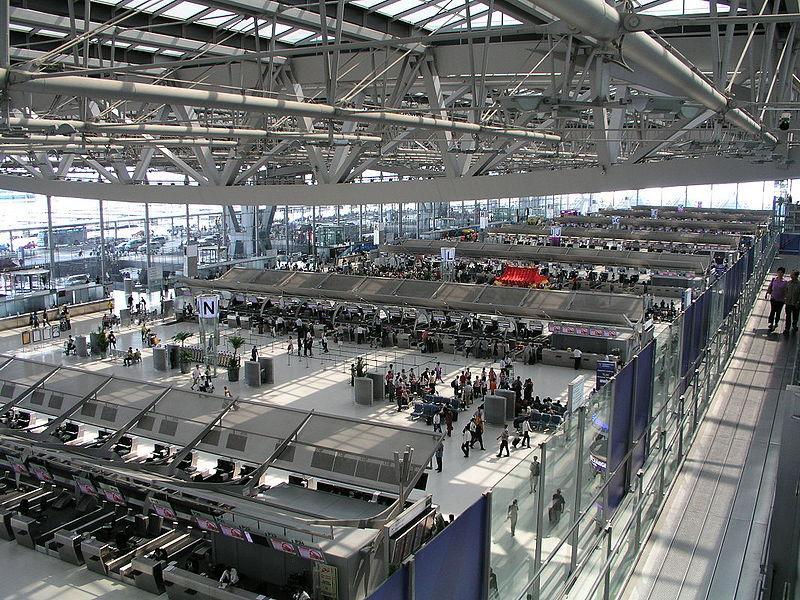 Departures terminal at Suvarnabhumi Airport (Bangkok Airport)