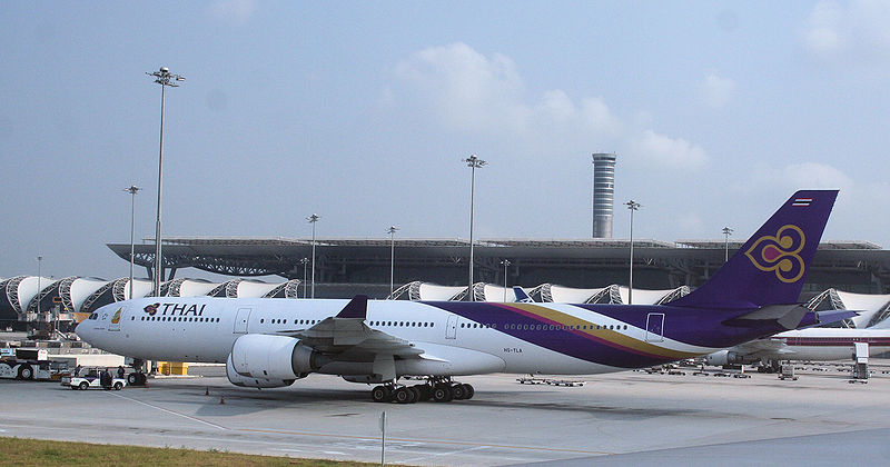 Thai Airways Airbus A340 (HS-TLA) at Bangkok Suvarnabhumi airport