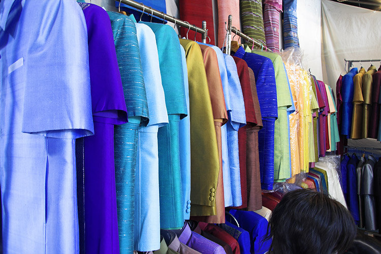 Thai silk at the market