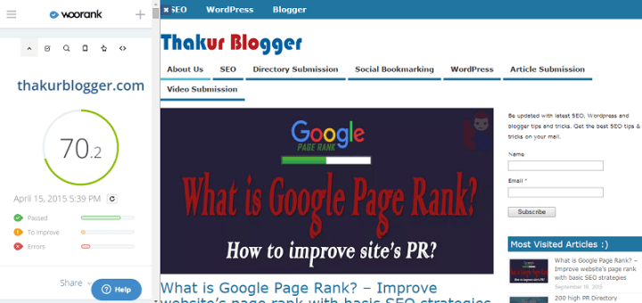 WooRank SEO & Website review - chrome SEO extension  Thakur Blogger