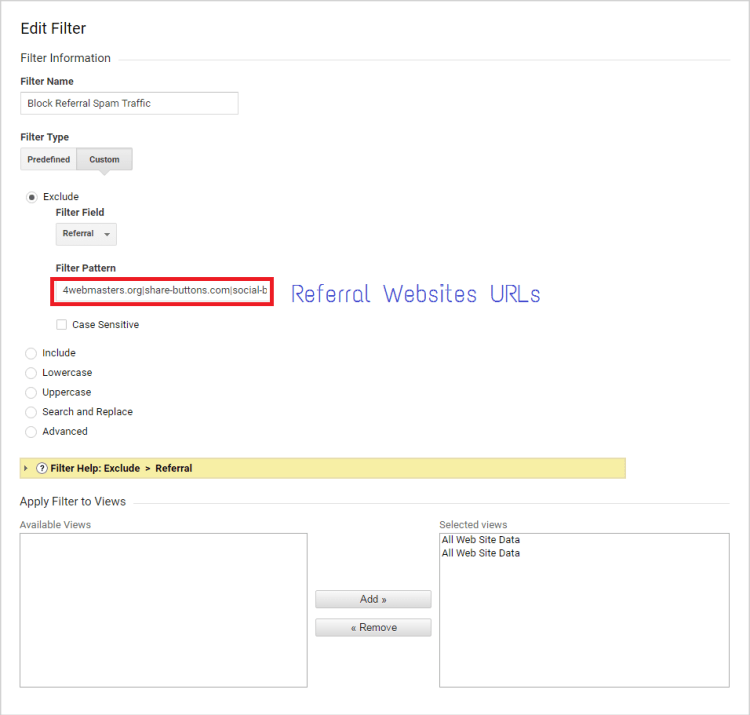 Custom filter - Google analytics spam referral issue How to fix