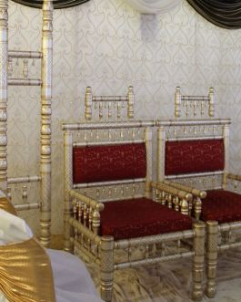 Red, gold and white chair set