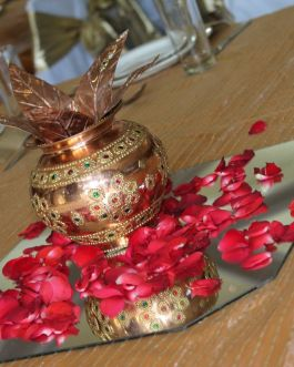 Copper coconut pot centerpiece