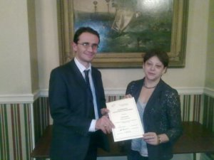 Bernie Morgan receiving ASC Certificate