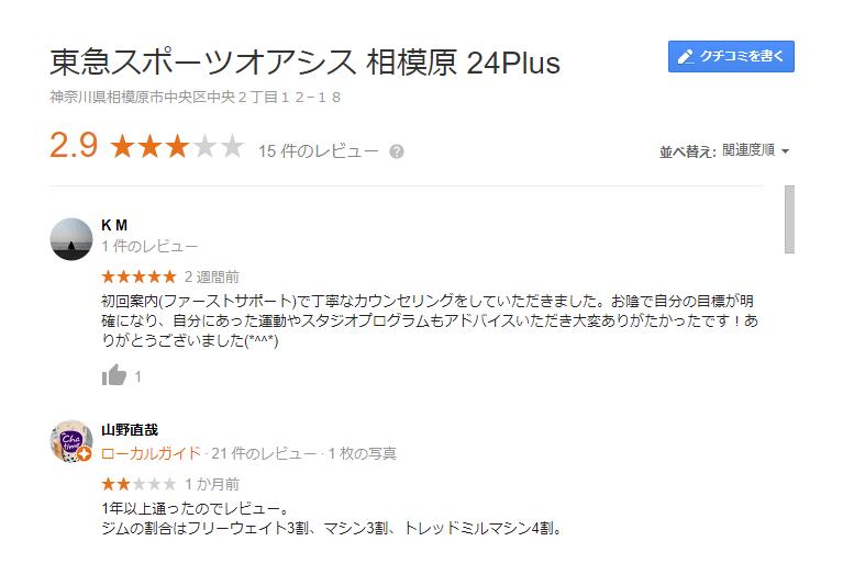東急スポーツオアシス相模原24Plus口コミ
