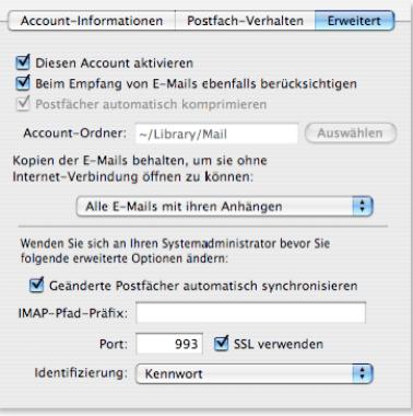 Apple Mail IMAP Postfach-Verhalten