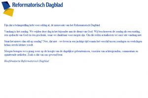 De website van Reformatorisch Dagblad op zondag