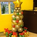Silver Christmas Tree Balloon Display