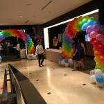 Colourful Balloon Arch with Clouds