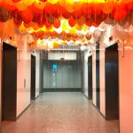 Helium Balloons on Ceiling Set up