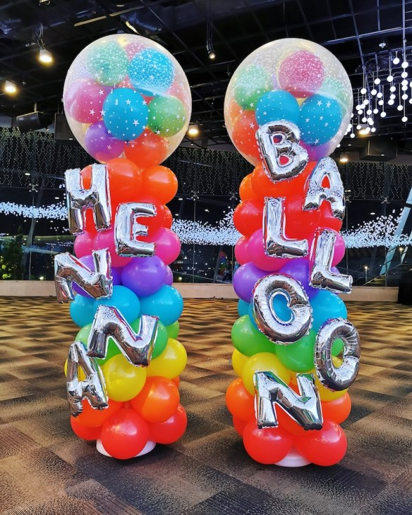 Rainbow Balloon Columns Singapore