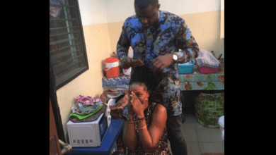 John Dumelo does Legon student's hair in latest photo