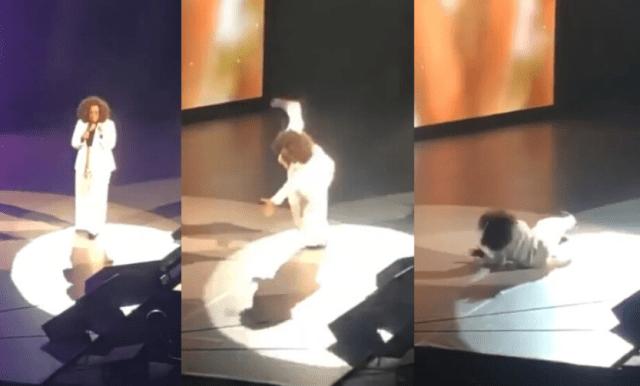 Oprah Winfrey falls on stage while speaking on 'balance'