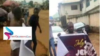 Pastor Stripped Naked After Being Caught With A Married woMan, Forced To Walk Around With Church Banner
