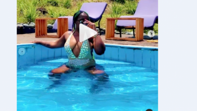 Free Spirited Singer Winnie Nwagi Displays Pair Of Big Juicy Paw paws As Star Musician Cools Up In Big And Swanky Pool