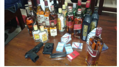 Pastor's son caught with stolen alcohol, guns