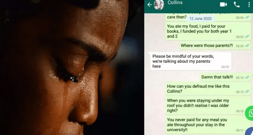 Lady shares chat with boyfriend who broke up with her after she trained him in school and fed him, says she's too old for him
