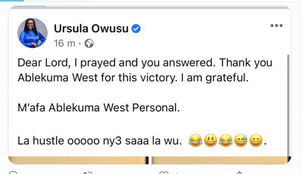 Ursula Owusu Tweets After Winning Ablekuma Seat