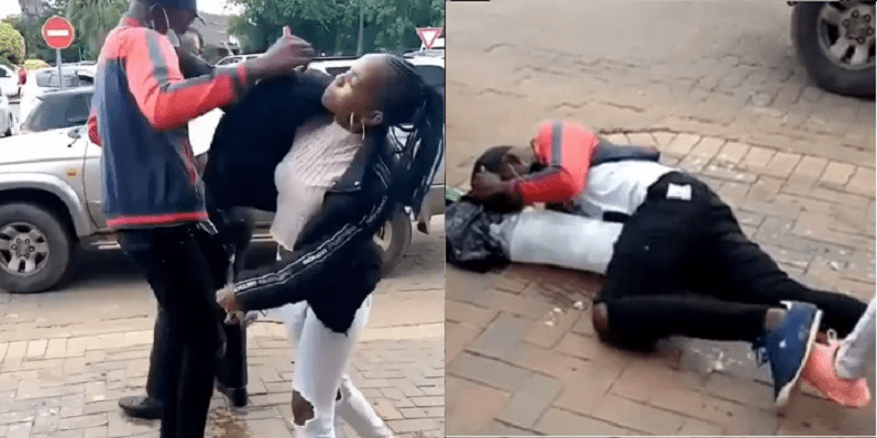 Drama as slay queen is caught on camera beating her drunk boyfriend in broad daylight ? (VIDEO)