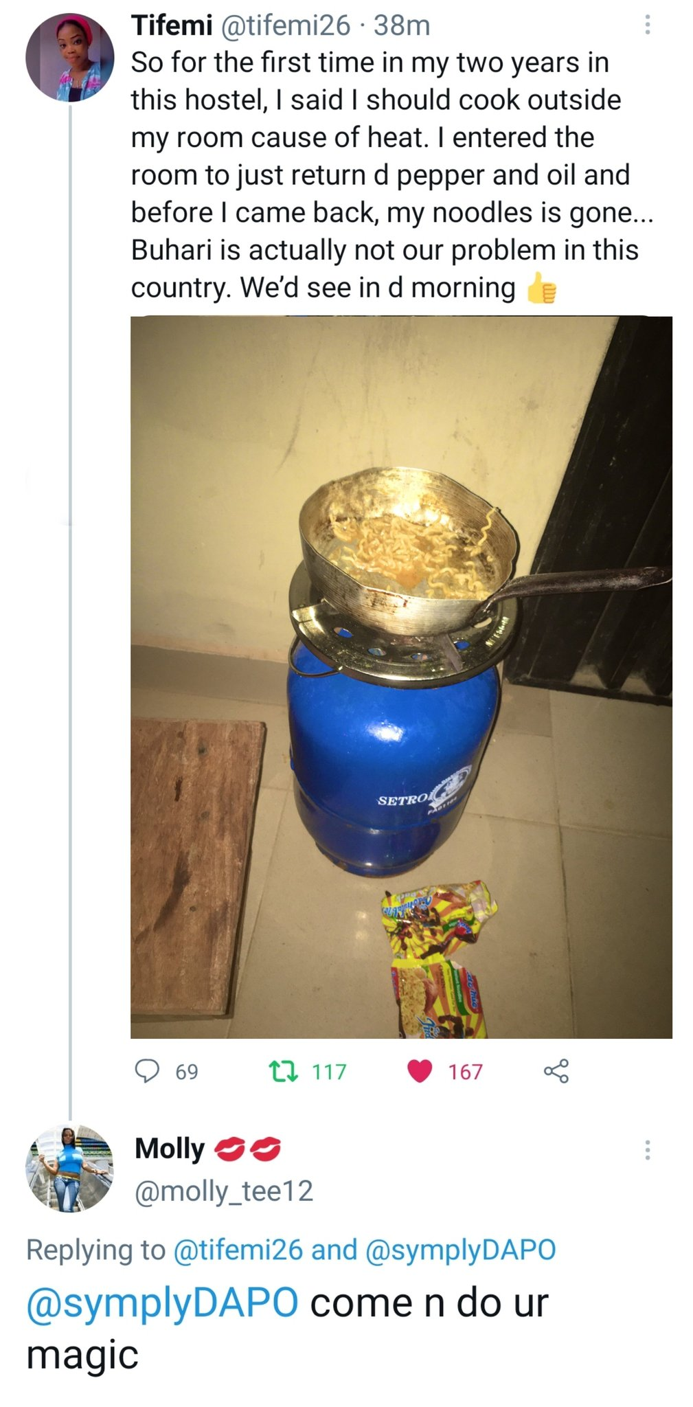"""""""Buhari is not the problem"""" – Lady says after her food was stolen while cooking"""