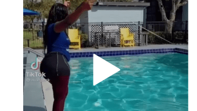 slay queen nearly broke her leg while pulling stunts in a swimming pool