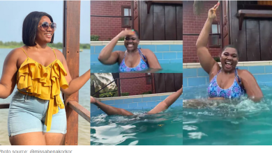 Abena Korkor causes stir as she opens her legs so wide to show her something while swimming [video]