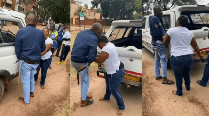 High Drama as man undressed by girlfriend in public . Reason will shock you