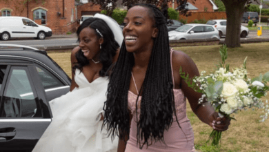 Bride forced to stand by the roadside to beg for a ride on her wedding day after car breaks down on the way to church