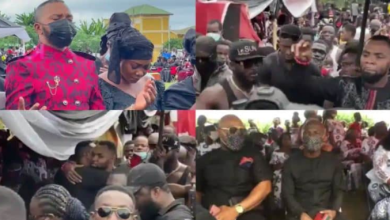 VIDEO: Rev Obofour And His Bodyguards clash Bishop Obinim at his Father's Funeral In Style