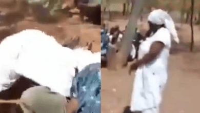 Moment woman chops man in church while being delivered from fornication demon