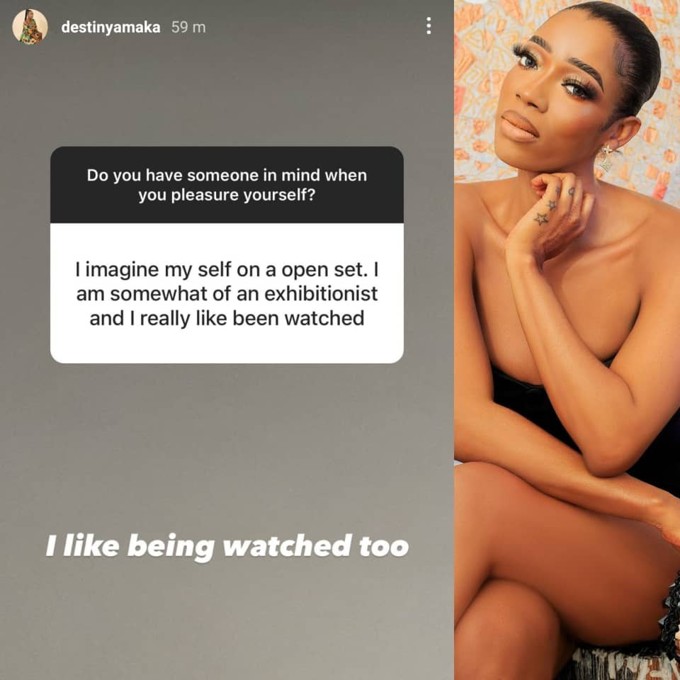 OAP Destiny Amaka reveals she likes being watched when she pleasures herself