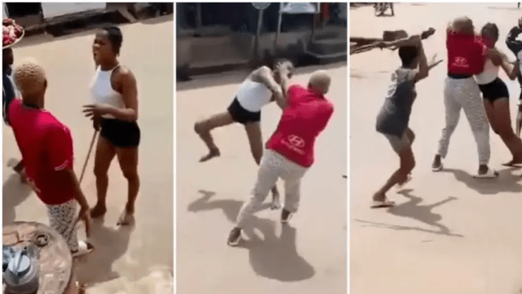 Crazy fight breaks between girls on road as they kick & punch each other