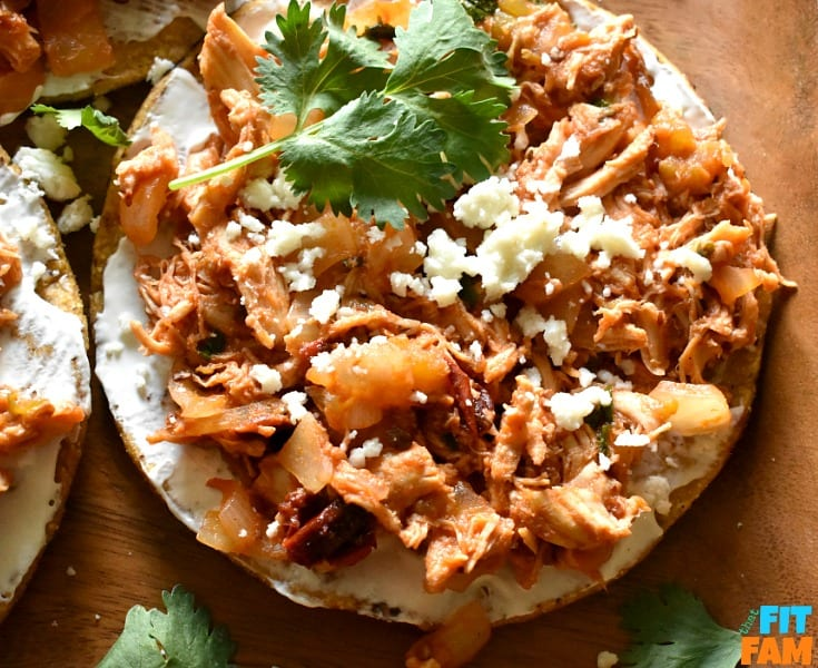 Tinga de Pollo tostadas are a such an easy, authentic Mexican meal that is so easy to make and surprisingly healthy!