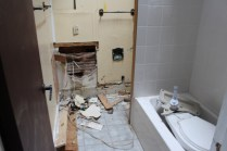 They put wood pannels in the bathroom over tilework. Can you spell M O L D?