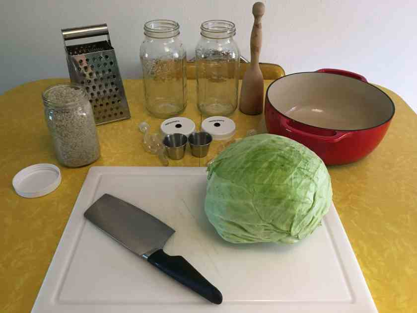 various tools and supplies to prep for making sauerkraut