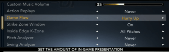 An image of the menu showing Game Flow among other options