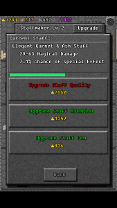 My magical stave in 10000000, mid-upgrade, showing a half full progress bar